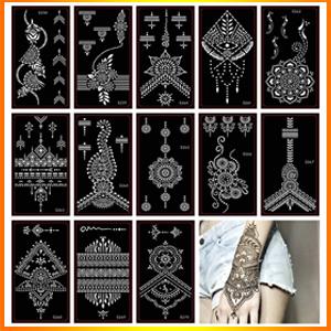 Xmasir Henna Tattoo Stencil/Glitter Temporary Tattoo Temples Set