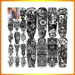 COKTAK 21 layers additionally large, black temporary fake tattoos for ladies, 8 sheets Full Arm, temporary tattoo