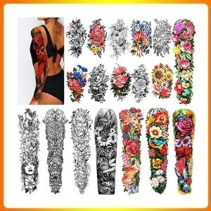 Full Arm Water resistant, fake temporary Tattoos 8 layers and Half Arm tattoo sleeves