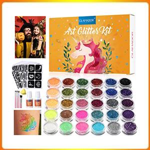 Glitter Tattoo Set 30 Large Tattoo Colors, 145 Stencils, Nail Art Colors, 2glue, Brushes
