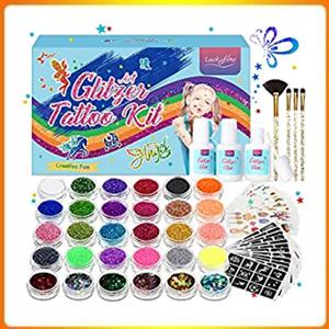 Glitter Tattoo Set, Temporary Tattoo Kit, For Kids Girls Teenager Adult Body Glitter For Party, Birthday Gift For Girls Kids Children