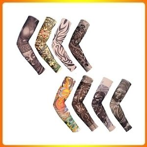 Inexpensive tattoo arms, body arts, Halloween for Men Women,8 pieces fake tattoo arms