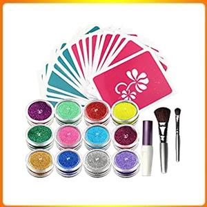 Ophir Tattoo Kit, Glitter Tattoo Kit, 20 Colors Glitter, 30 Stencils, Body Arts Design, Kit For All