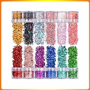 Warmfits Holographic 12 Colors Chunky Glitter Set, 120g Face Body Tattoo Treatment. Holographic Shapes, Multiple Sizes
